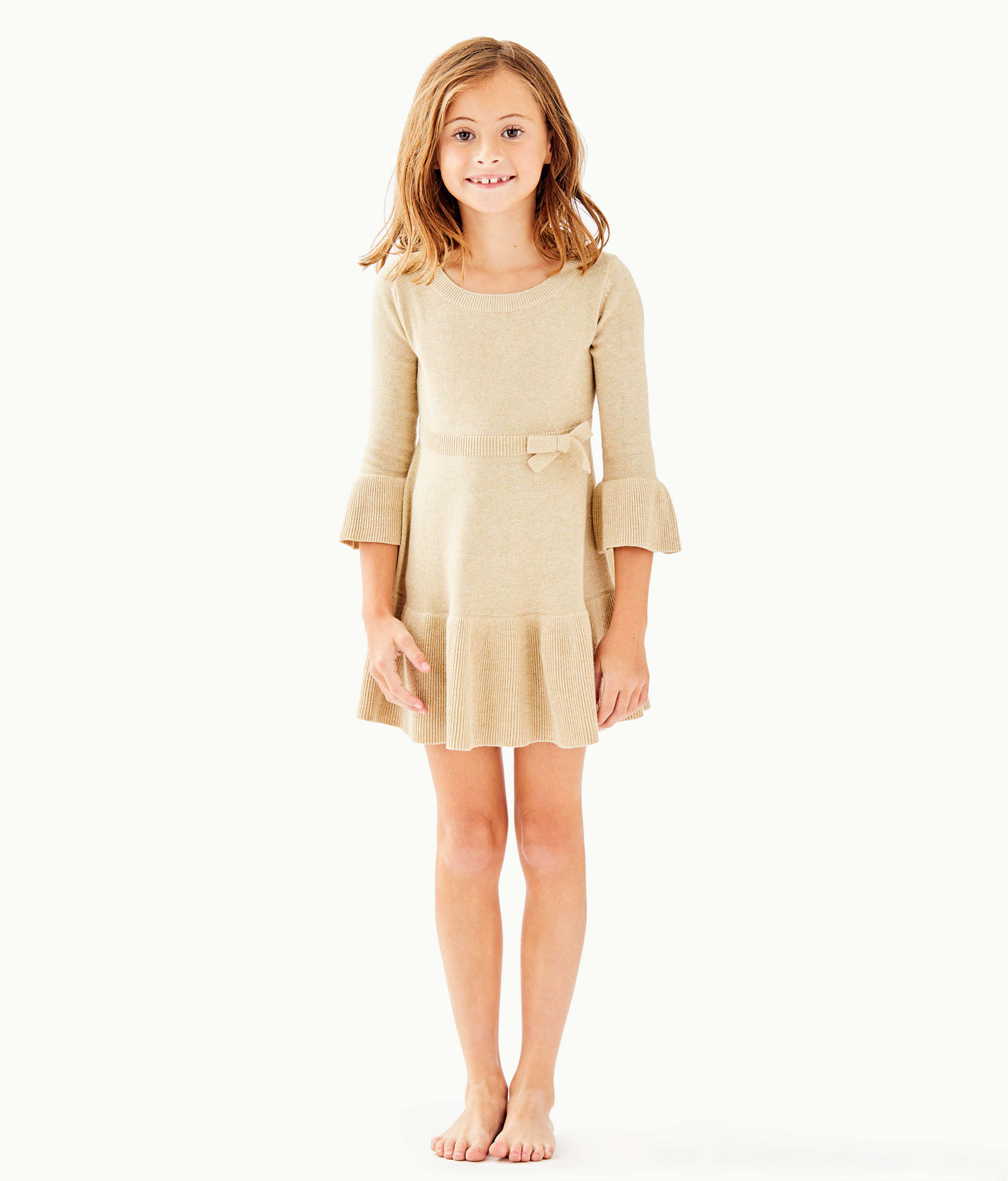b392ab268c717 Girls Amara Sweater Dress, Gold Metallic, large ...