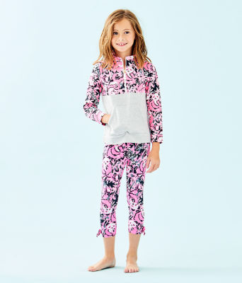 UPF 50+ Girls Mini Asher Popover, Hibiscus Pink Hangin With My Boo, large 0