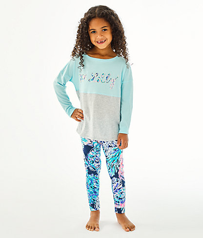Girls Mini Finn Top, Blue Oasis Tint Party In Paradise Xx Lilly Finn Graphic, large 0