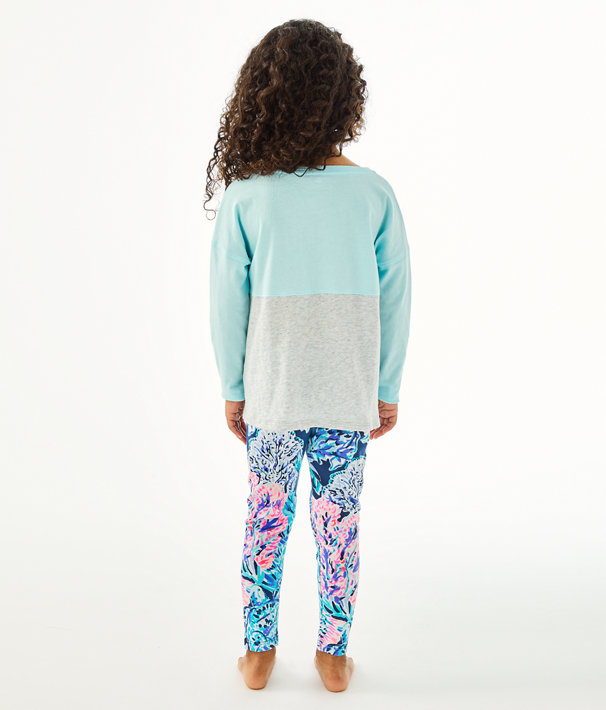 Girls Mini Finn Top, Blue Oasis Tint Party In Paradise Xx Lilly Finn Graphic, large