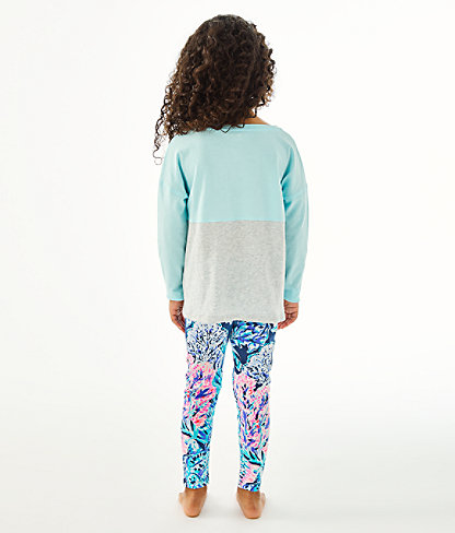 Girls Mini Finn Top, Blue Oasis Tint Party In Paradise Xx Lilly Finn Graphic, large 1