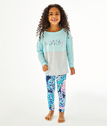 Girls Mini Finn Top, Blue Oasis Tint Party In Paradise Xx Lilly Finn Graphic, large 2