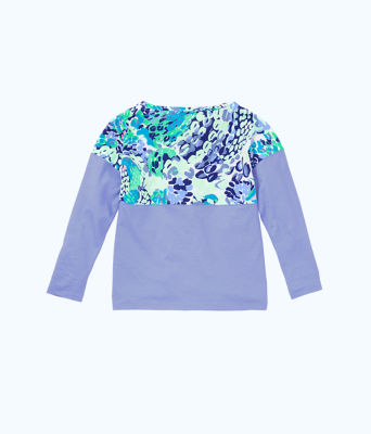 Girls Mini Finn Top, Turquoise Oasis Wave After Wave, large