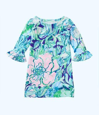UPF 50+ Girls Mini Sophie Ruffle Dress, Multi Party Thyme, large 0
