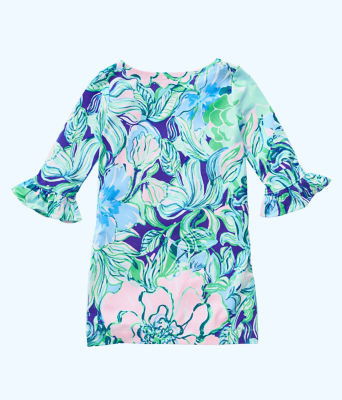 UPF 50+ Girls Mini Sophie Ruffle Dress, Multi Party Thyme, large 1