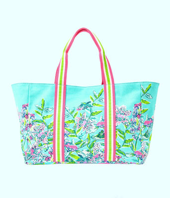 Lillys Lagoon Tote, Bali Blue Sway This Way Engineered Tote, large 0