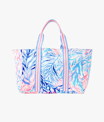 Lillys Lagoon Tote, Crew Blue Tint Kaleidoscope Coral, large