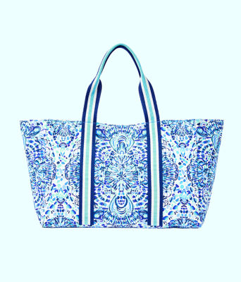 Lillys Lagoon Tote, Resort White Call My Shell Phone Engineered Tote, large
