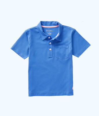 Boys Polo Shirt, Coastal Blue, large