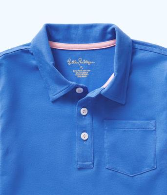 Boys Polo Shirt, Coastal Blue, large 2