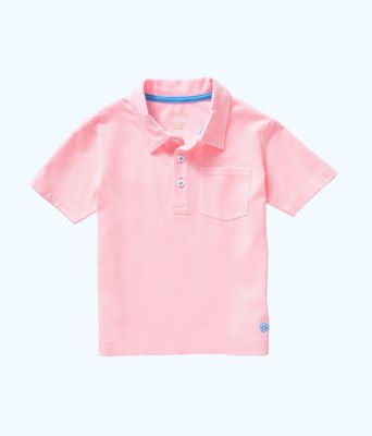Boys Polo Shirt, Pink Tropics Tint, large