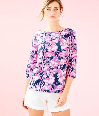 Waverly Top, Inky Navy Flamingle, large