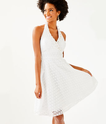 Willa Midi Dress, Resort White Oval Flower Petal Eyelet, large 0
