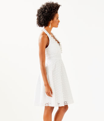 Willa Midi Dress, Resort White Oval Flower Petal Eyelet, large 2