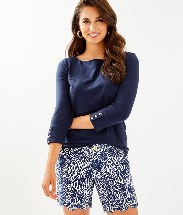 """7"""" Darci Knit Short, High Tide Navy By Land Or By Sea, large"""