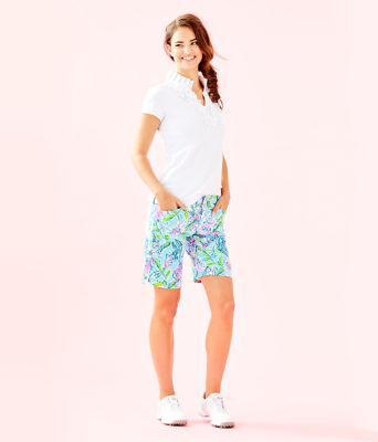 "UPF 50+ Luxletic 10"" Bettina Golf Short, Bali Blue Sway This Way, large"