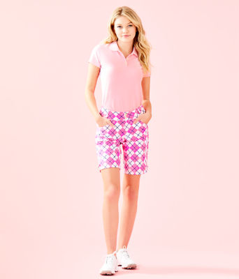"UPF 50+ Luxletic 10"" Bettina Golf Short, Pink Tropics Glow And Flow Argyle, large"