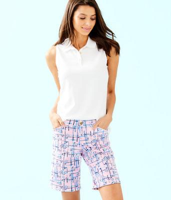 "UPF 50+ Luxletic 10"" Bettina Golf Short, Pink Tropics Tint Talk Birdie To Me, large"
