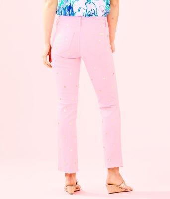 "28"" South Ocean Crop Flare Pant, Pink Tropics Tint Polka Dot Jean, large 1"