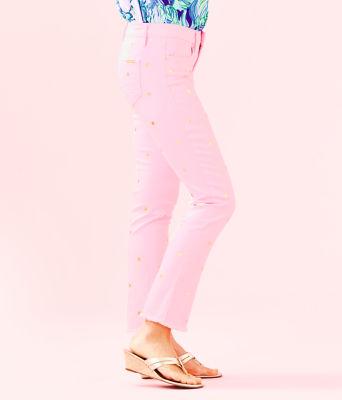 "28"" South Ocean Crop Flare Pant, Pink Tropics Tint Polka Dot Jean, large 2"