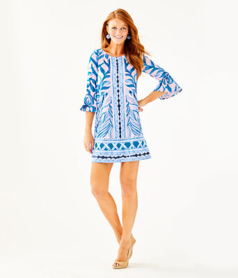 Ophelia Dress, Pink Tropics Tint Heat Wave Engineered Dress Front, large 3