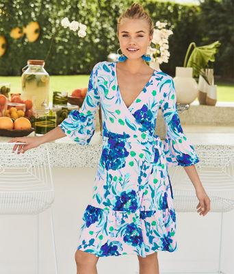 Misha Wrap Dress, Pink Tropics Tint Sweet Pea, large 4