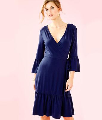 Misha Wrap Dress, True Navy, large 0