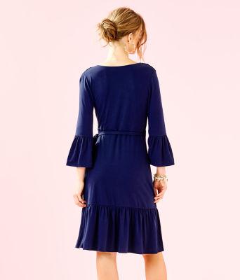 Misha Wrap Dress, True Navy, large 1
