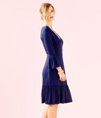Misha Wrap Dress, True Navy, large 2