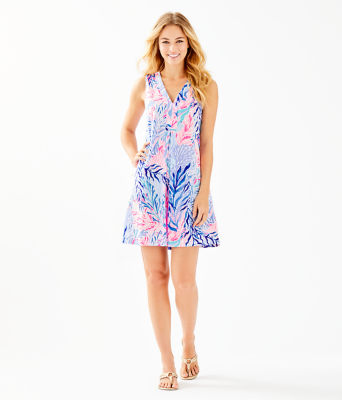 Amina Dress, Crew Blue Tint Kaleidoscope Coral, large