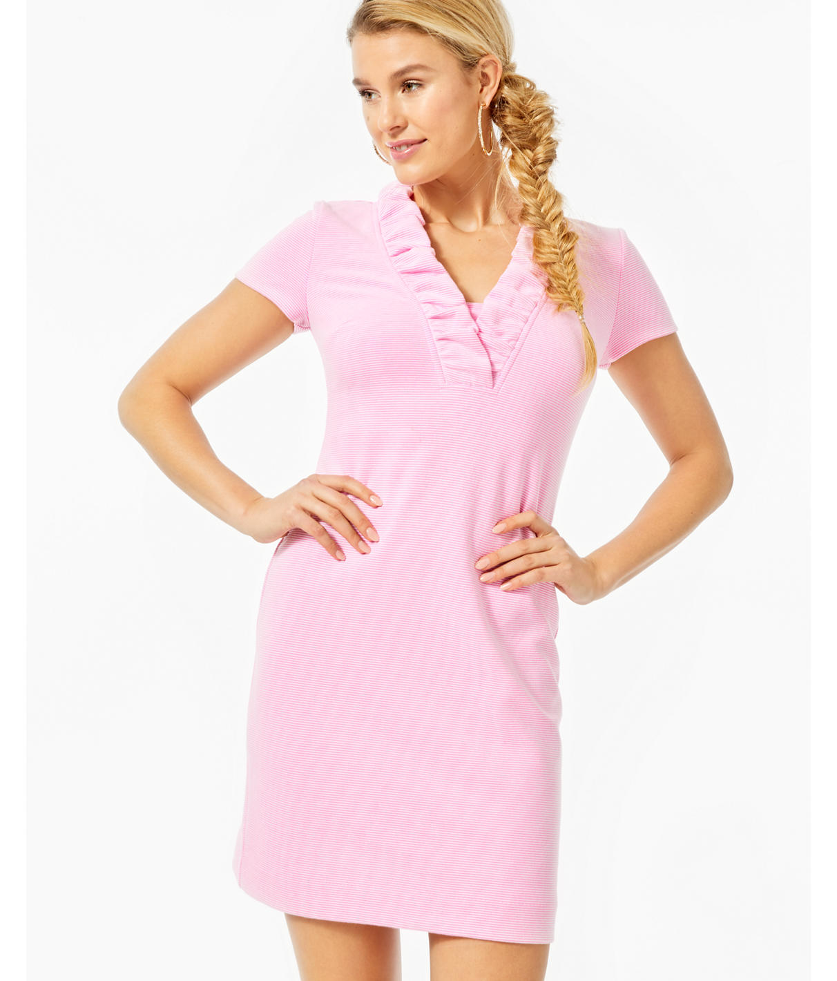 Lilly Pulitzer Tisbury Short Sleeve Shift Dress In Prosecco Pink Lucky Catch Stripe