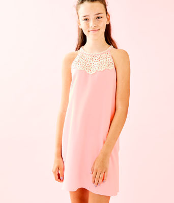 Girls Mini Pearl Shift Dress, Coral Reef Tint, large 0