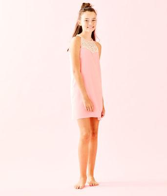Girls Mini Pearl Shift Dress, Coral Reef Tint, large 3