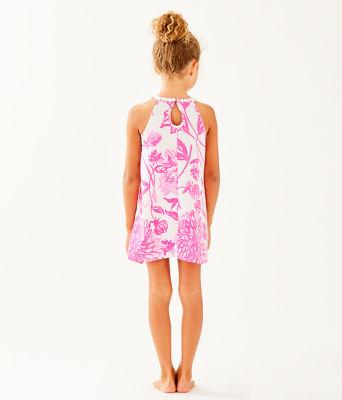 Girls Mini Pearl Shift Dress, Resort White Caliente, large 1