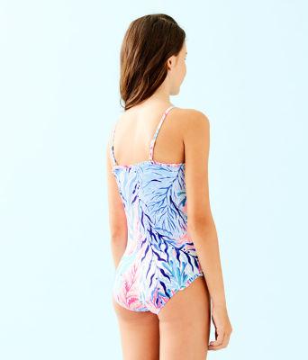 UPF 50+ Girls Juliet One-Piece Swimsuit, Crew Blue Tint Kaleidoscope Coral, large 1