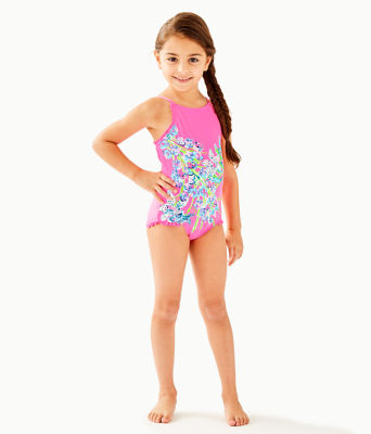 UPF 50+ Girls Juliet One-Piece Swimsuit, Pink Tropics Sway This Way Eng Kids Swim, large 0