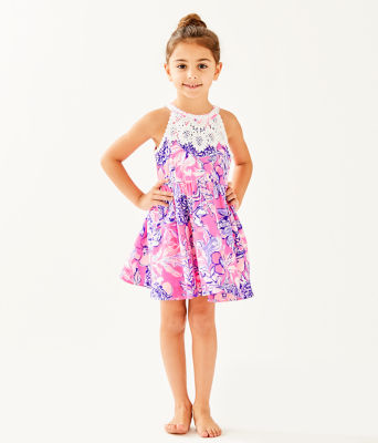 Girls Little Kinley Dress, Pink Tropics Sun Drenched, large 0