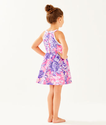 Girls Little Kinley Dress, Pink Tropics Sun Drenched, large