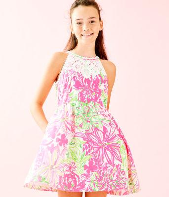 Girls Little Kinley Dress, Resort White Koala Me Maybe, large 0
