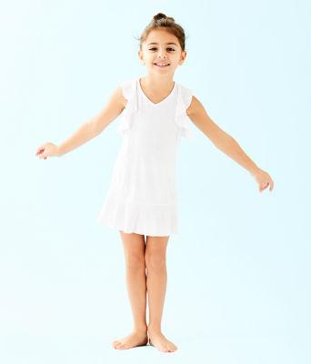 UPF 50+ Girls Mini Rally Tennis Dress, Resort White Nylon Tennis Monkey Knit Jacquard, large 2