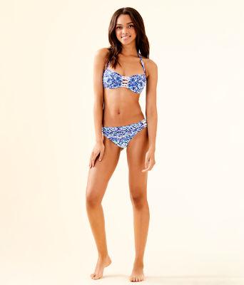 Sandy Lattice Bandeau Bikini Top, Resort White Call My Shell Phone Eng Swim Bikini Bott, large