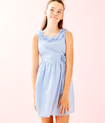 Girls Georgina Dress, Coastal Blue Seersucker, large 0