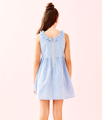 Girls Georgina Dress, Coastal Blue Seersucker, large 1