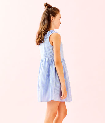 Girls Georgina Dress, Coastal Blue Seersucker, large 2