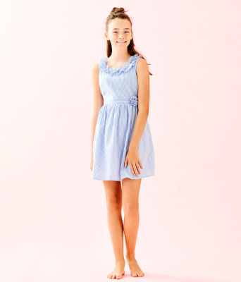 Girls Georgina Dress, Coastal Blue Seersucker, large 3
