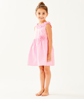 Girls Georgina Dress, Pink Tropics Seersucker, large