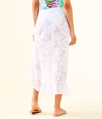 Wilda Sarong, Resort White Vertical Leaf Poly Crepe Clip Jacquard, large 1