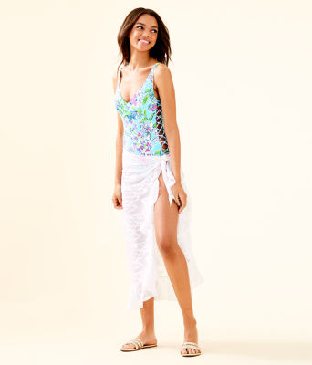 Wilda Sarong, Resort White Vertical Leaf Poly Crepe Clip Jacquard, large
