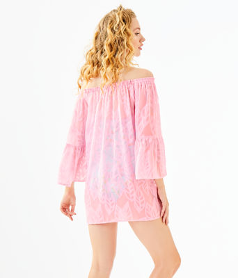 Nevie Off-The-Shoulder Cover-Up, Pink Tropics Tint Vertical Leaf Poly Crepe Clip Jacquard, large