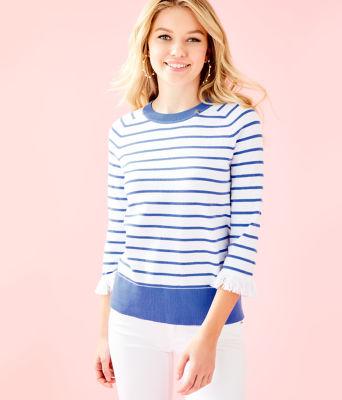 Dasha Sweater, Coastal Blue Dasha Stripe, large